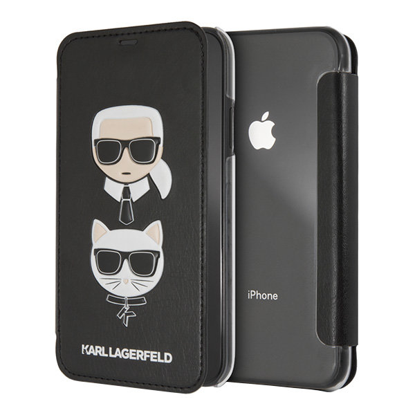 Чехол Karl Lagerfeld Karl and Choupette Booktype для iPhone XS Max, черный