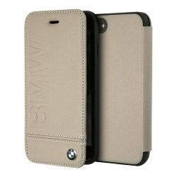 Кожаный чехол BMW Signature Logo imprint Booktype для iPhone 7 Plus/8 Plus, Taupe