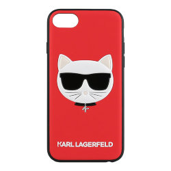 Чехол Karl Lagerfeld PU Leather Choupette Hard Glitter для iPhone 7/8/SE 2020, красный