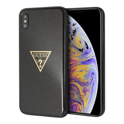 Чехол Guess Triangle logo Hard Glitter для iPhone XS Max, черный