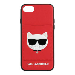 Чехол Karl Lagerfeld PU Leather Choupette's Head Hard with cardslot для iPhone 7/8/SE 2020, красный