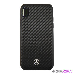 Чехол Mercedes Dynamic Hard Carbon для iPhone X/XS, черный
