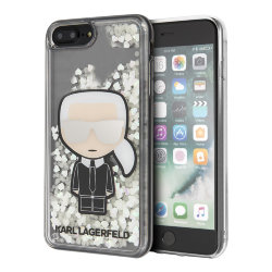 Чехол Karl Lagerfeld Liquid Glitter Iconic glow in dark для iPhone 7 Plus/8 Plus, прозрачный