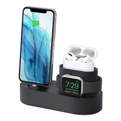 Подставка Elago 3 in 1 для Airpods Pro/iPhone/Apple Watch, чёрная