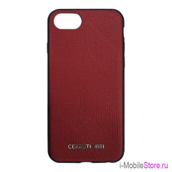 Кожаный чехол Cerruti Stamp Chevron Hard для iPhone 7/8/SE 2020, Burgundy