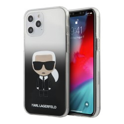Чехол Karl Lagerfeld Iconic Karl Hard Gradient для iPhone 12 | 12 Pro, черный