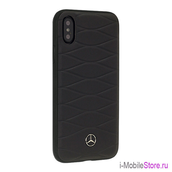 Кожаный чехол Mercedes Pattern III Hard для iPhone X/XS, Dark Grey