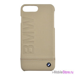 Кожаный чехол BMW Logo imprint Hard для iPhone 7 Plus/8 Plus, Taupe