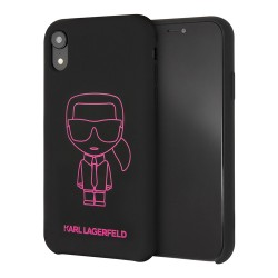Чехол Karl Lagerfeld Liquid silicone Ikonik outlines Hard для iPhone XR, черный/розовый