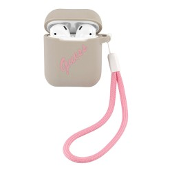 Чехол Guess Silicone case Script logo with cord для Airpods 1/2, серый/розовый