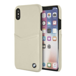 Кожаный чехол BMW Signature Card slot Hard Leather для iPhone X/XS, Taupe