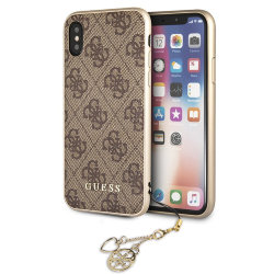 Чехол Guess 4G Charms Hard для iPhone X/XS, коричневый