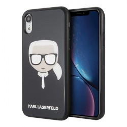 Чехол Karl Lagerfeld Double layer Karl's Head Hard Glitter для iPhone XR, черный