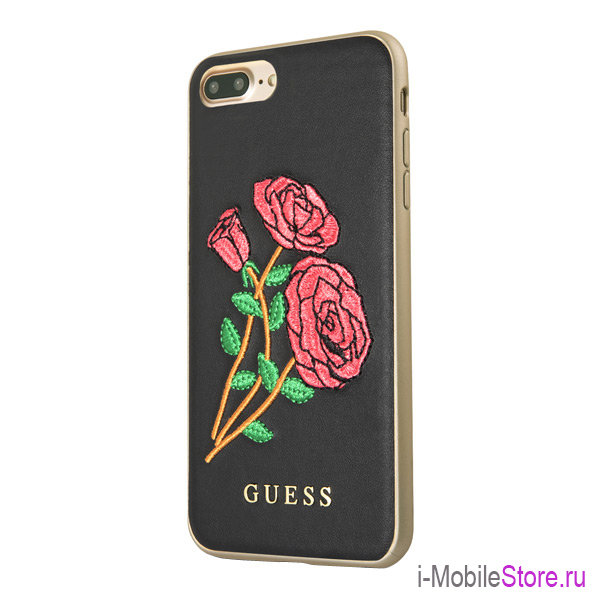 Чехол Guess Flower desire Hard Embroidered roses для iPhone 7 Plus/8 Plus, черный