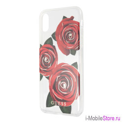 Чехол Guess Flower desire Transparent Hard для iPhone X/XS, Red Roses