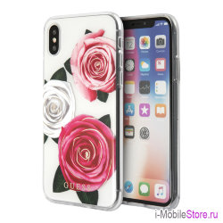Чехол Guess Flower desire Transparent Hard для iPhone X/XS, Tricolor Roses (белый фон)