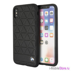 Кожаный чехол BMW Signature Embossed Hexagon Hard для iPhone X/XS, черный