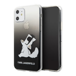 Чехол Karl Lagerfeld Fun Choupette Sunglasses Hard Gradient для iPhone 11, черный
