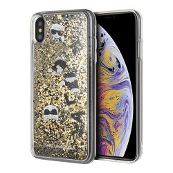 Чехол Karl Lagerfeld Liquid Glitter Floatting Charms для iPhone XS Max, золотой