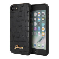 Чехол Guess Animal Croco with metal logo Hard для iPhone 7/8/SE 2020, черный