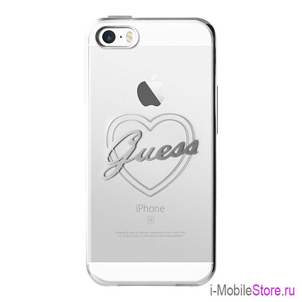 Чехол Guess Signature heart Hard для iPhone 5s SE, серебристый