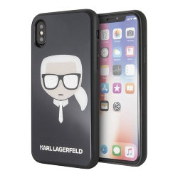 Чехол Karl Lagerfeld Double layer Karl's Head Hard Glitter для iPhone XS Max, черный