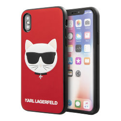 Чехол Karl Lagerfeld PU Leather Choupette Hard Glitter для iPhone X/XS, красный