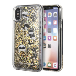 Чехол Karl Lagerfeld Liquid Glitter Floatting Charms для iPhone X/XS, золотой