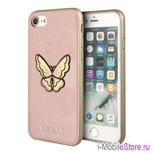 Чехол Guess Patch Butterfly Saffiano Hard для iPhone 7/8/SE 2020, розовый