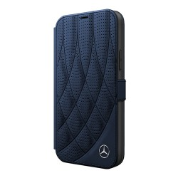 Кожаный чехол Mercedes Bow Quilted perforated Booktype для iPhone 12 Pro Max, синий
