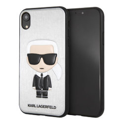 Чехол Karl Lagerfeld Iconic Karl Hard для iPhone XR, серебристый