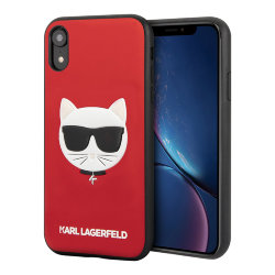 Чехол Karl Lagerfeld PU Leather Choupette Hard Glitter для iPhone XR, красный