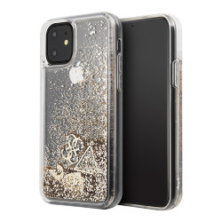 Чехол Guess Glitter Hearts Hard для iPhone 11, золотой