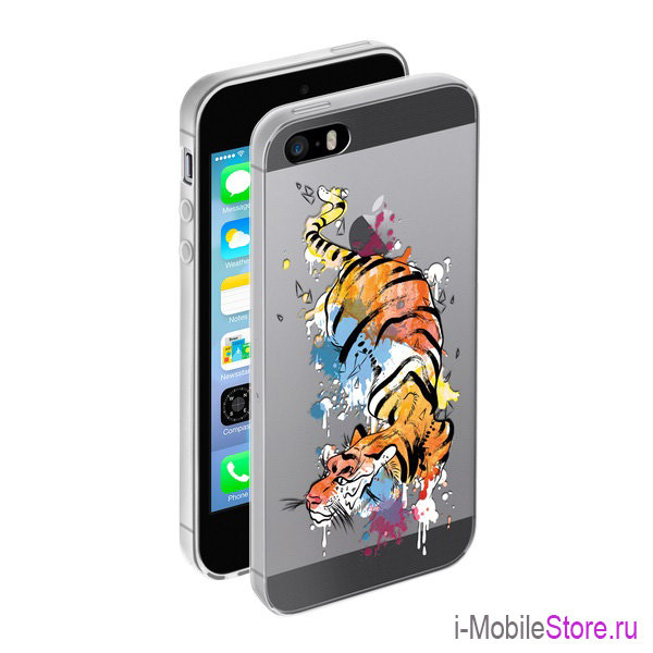 Чехол Deppa Gel Art Animal для iPhone 5s/SE, Тигр