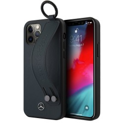 Чехол Mercedes Genuine Leather with Hand Strap Hard для iPhone 12 Pro Max, синий