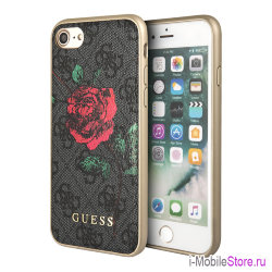 Чехол Guess Flower desire 4G Hard roses для iPhone 7/8/SE 2020, серый