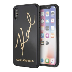 Чехол Karl Lagerfeld Double layer Karl signature Hard Glitter для iPhone XS Max, черный