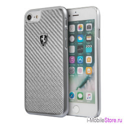 Чехол Ferrari Heritage Real Carbon Hard для iPhone 7/8/SE 2020, серебристый