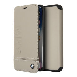 Кожаный чехол BMW Signature Logo imprint Booktype для iPhone X/XS, Taupe