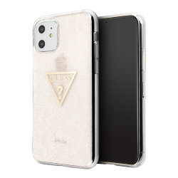 Чехол Guess Triangle logo Hard Glitter для iPhone 11, розовый