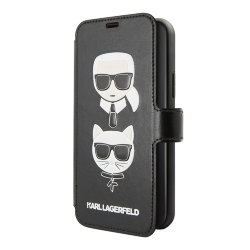 Чехол Karl Lagerfeld PU Leather Karl and Choupette Booktype Stand для iPhone 11 Pro, черный