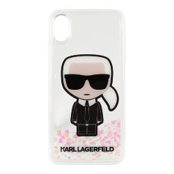 Чехол Karl Lagerfeld Liquid Glitter Iconic Karl Hard для iPhone XS Max, (Glow in the Dark)