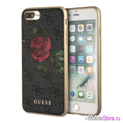 Чехол Guess Flower desire 4G Hard roses для iPhone 7 Plus/8 Plus, серый