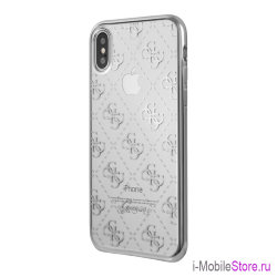 Чехол Guess 4G Transparent Hard для iPhone X/XS, серебристый