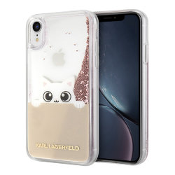Чехол Karl Lagerfeld Liquid glitter Peek a Boo для iPhone XR, розовый