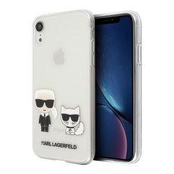 Чехол Karl Lagerfeld Ikonik Karl & Choupette Hard для iPhone XR, прозрачный