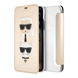 Чехол Karl Lagerfeld Karl and Choupette Booktype для iPhone XR, золотой