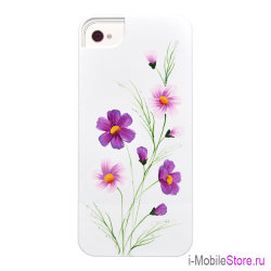Чехол iCover Wild Flower для iPhone 5s SE, White/Purple