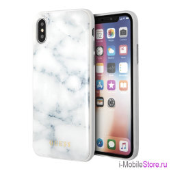 Чехол Guess Marble Collection Hard для iPhone X/XS, белый