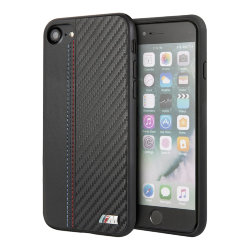 Чехол BMW Smooth Carbon effect PU Hard для iPhone 7/8/SE 2020, черный